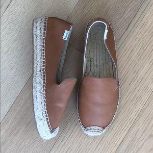 SOLUDOS Leather Platform Smoking Slipper Tan 7